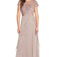 Women's Adrianna Papell Layered Chiffon & Lace Gown,