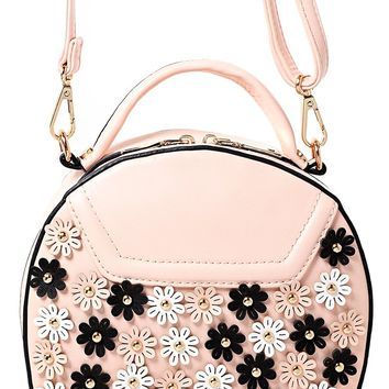 Floral Embellished Round Across Body Bag in Pink