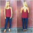 Cross The Line Chiffon Tank - BURGUNDY