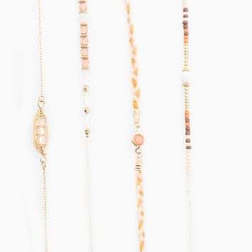 Set of 4 metal and bead chokers - NECKLACES - WOMAN | Stradivarius United Kingdom