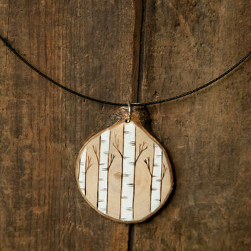 Wood Burned birch trees Pendant on wire choker with magnetic closure. Wood Slice Necklace.