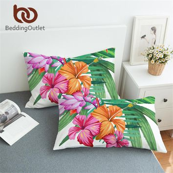Hibiscus Pillowcase Tropical Floral Flower Print Pink and Green Pillow Cover