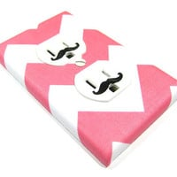 MADE WHEN ORDERED White and Pink Chevron Riley Medium Outlet Cover Electrical Duplex - mustache decals not included
