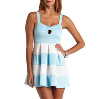BOW-FRONT COLOR BLOCK SKATER DRESS