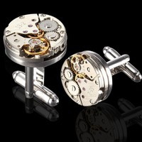 Deluxe Steampunk Watch Movement Cufflinks Vintage Mens Shirt Wedding Cuff Links Christmas Gifts
