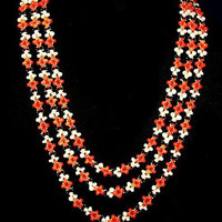 """Coral Beaded Necklace Black Red White Natural Coral Antique Asian 24"""" Vintage"""