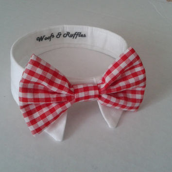Dog Tuxedo White Shirt Collar and Red Gingham Bow Tie SET - Bridal Formal Dog Wear- Dog Wedding Shirt and Wedding Bow Tie