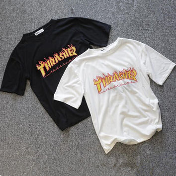 Fashion Thrasher Print Cotton T-Shirt Tee Top