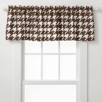 Bacati Quilted White & Chocolate Circles Houndstooth Valance (Brown/White)