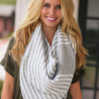 Grey and Ivory Blanket Scarf