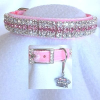 Plush Velvet Crystal Rhinestone Dog Cat Pet Collar - Color Choice - Szs Xs, Small, Medium, ML