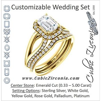 CZ Wedding Set, featuring The Gabrielle Mia engagement ring (Customizable Emerald Cut Design with Halo & Accented Three-sided Wide Split Band)