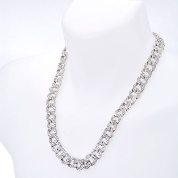 "Jewelry Kay style Men's Fashion Hip Hop Heavy Iced Out 15 mm CZ Stoned 24"" Cuban Chain Necklace"