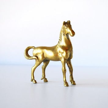 Vintage Brass Horse Figurine - Small