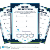 Boy Whale Dirty Diaper Game, Guess Sweet Mess for Baby Shower Printable Card for Baby Whale Shower DIY Navy  Chevron - oz8bs17