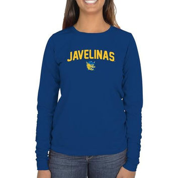 Texas A&M Kingsville Javelinas Ladies Mascot Logo Long Sleeve Classic Fit T-Shirt - Royal Blue