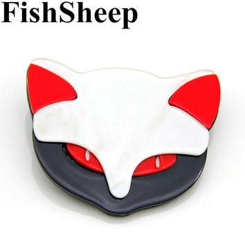 FishSheep Cute Acrylic Fox Brooches Handmade Fashion Animal Cat Brooches Pins For Clothing Accessories Women's Jewelry Gifts
