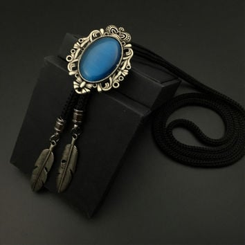 Mantieqingway Western Cowboy Bolo Ties for Men Silver Tone Bolo Slide Natural Turquoise Vintage Indian Concho Tribal Bolos Tie