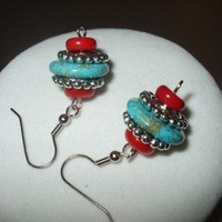 Modern Twist on the Southwest - Turquoise & Coral Earrings | DesignsByAmyB - Jewelry on ArtFire