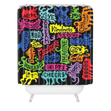 Andi Bird Its All Good Black Shower Curtain