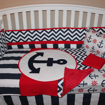 Navy Nautical Anchor with Red 6 Piece Set