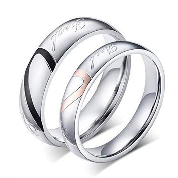 DIB Stainless Steel His and Hers Heart Shaped Promise Rings Real Love Couple Wedding Bands
