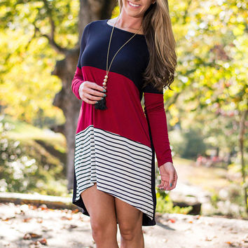 Color Block Stripe High Low Stretch Knit Dress