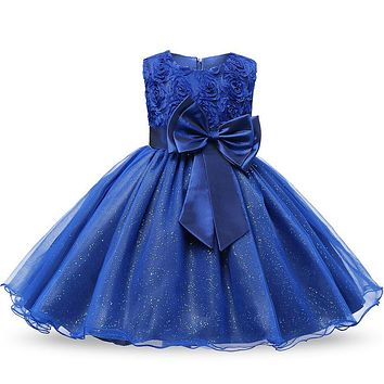 Baptism Princess Girls O-neck Dresses Summer 2017 Sequined Floral Children Ball Gown Party Clothing Toddler Girl Tutu Kids Dress