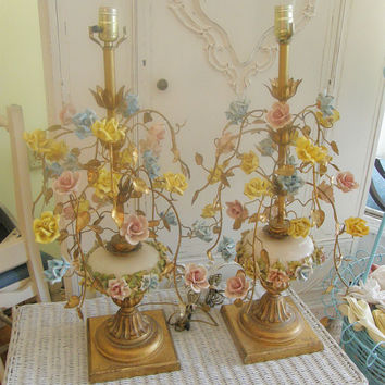 FAB pair vintage tole lamps porcelain by VintageChicFurniture