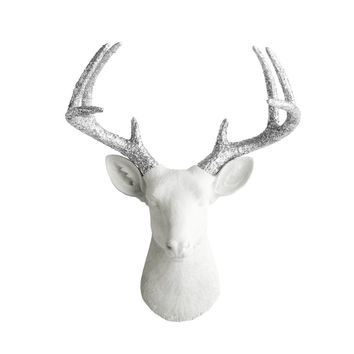 The Virginia | Large Deer Head | Faux Taxidermy | White + Silver Glitter Antlers Resin