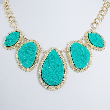 Natural Aquamarine Seafoam Blue Turquoise Druzy Drop Stone Statement Necklace, Gold Tone Crystal Rhinestone Bib Necklace-120550617