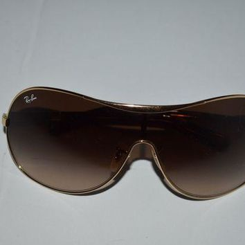 Gotopfashion Ray Ban Shield Sunglasses RB3455L 001/13 Gold Frames Brown Lens