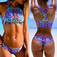 2016 new High neck Sexy Triangle Thong bikini set bandage women push up Low waist Swimwear swimsuit bathing maillot de bain