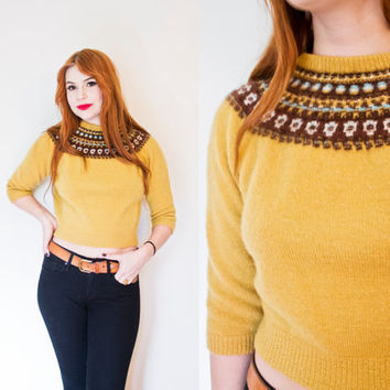 Vintage 1960s Sweater - Cropped Wool Knit Mustard Yellow Fitted Nordic 50s- 60s - Small