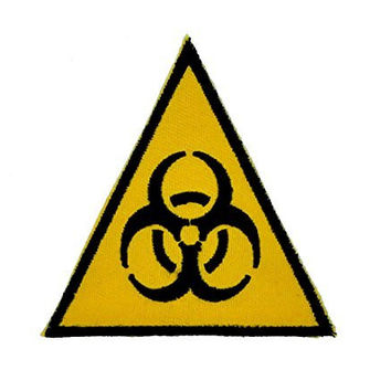 Triangle Bio Hazard Patch Black & Yellow Iron On Applique