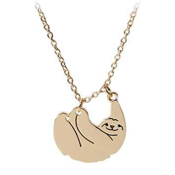 Hot Cut Sloth Necklace Pendant Choker Pendant Collares Mujer Best Friend Animal Chain Jewellery Christmas Gift
