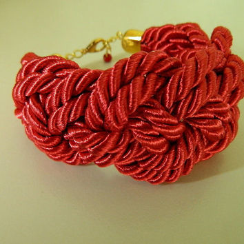 Red Rope Bracelet Sailor Knot bridesmade Japanese knot Bracelet chunky cuff braided bracelet nautical fiber jewelry gift for her