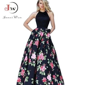 Women Summer Long Dress Sexy Halter Floral Print Maxi Dress Vestidos Black White Party Dresses Plus Size Elegant Vintage Dresses
