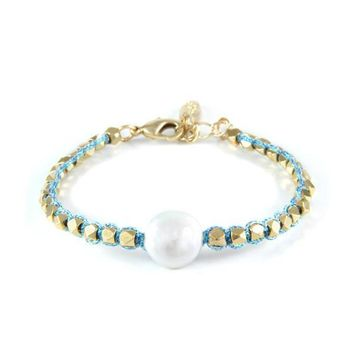 Pirates Pearl Golden Bracelet in Metallic Sky Blue