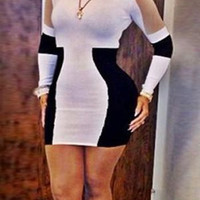 Color Block Long Sleeve Bodycon Dress