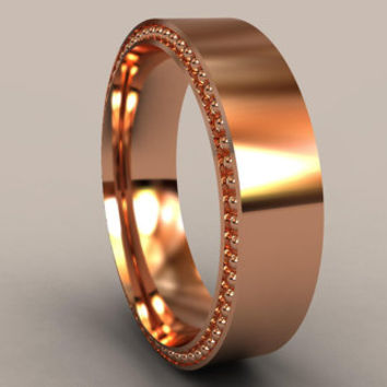 Rose Gold 6mm Mens Wedding Band, Recessed Beading, Designer Mens Wedding Ring, Simple Mens Wedding Ring, Rustic Mens Wedding Ring