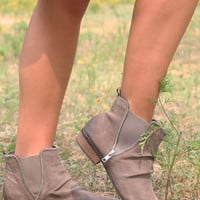 El Paso Taupe Distressed Suede Ankle Boots With Zipper Detail