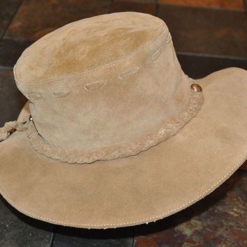 CLEAN BANANA REPUBLIC UNISEX MENS WOMENS HIPPIE LEATHER SUEDE TAN HAT Sz S/M