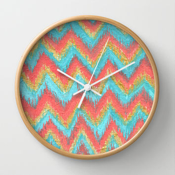 Chevron Ikat Acrylic Teal Coral Painting Wall Clock by ModArtSpace