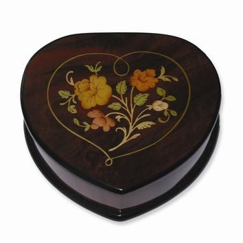 Brown and Red Floral Inlay Heart Music Box