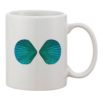 Mermaid Shell Bra Blue Printed 11oz Coffee Mug by TooLoud