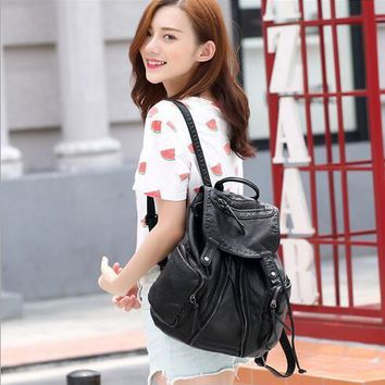 College of the new soft pu leather backpack wind female leisure travel bag large capacity washing water bag