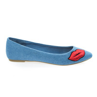 Sequel74M Blue Jean Denim By Bamboo, pop art pointed toe slip on flat w lip kiss embroidery patchwork