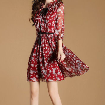 Elegant Soft Three-quarter Sleeve Print Slim Dress One Piece Dress [10356882061]