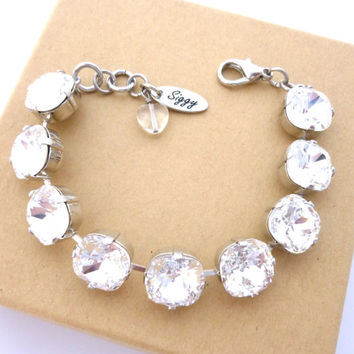 Swarovski clear crystal bracelet, 12mm cushion cut stones, bridal bracelet, chunky tennis bracelet, Siggy bling Jewelry